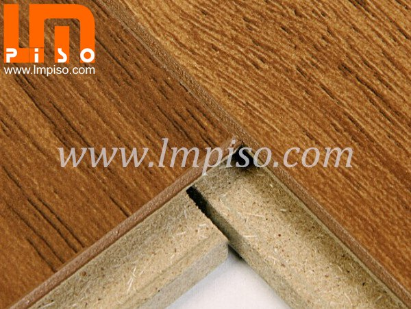 Heavy traffic single clic oak wood color beveled v groove lam
