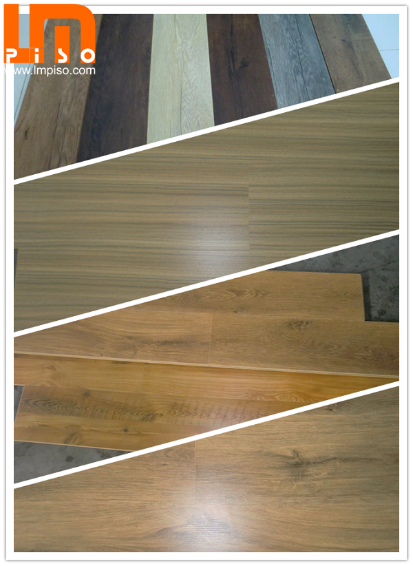 Three strips middle embossed ancient applewood laminate flooring