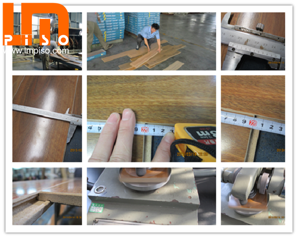 Commercial beveled v groove teak wood small embossed laminate floors